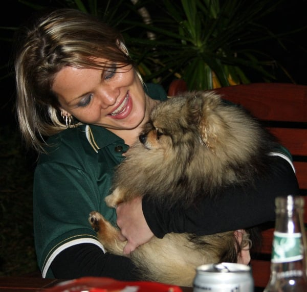 Jen with Brian the Pomeranian