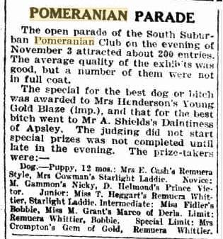 Pomeranian Parade 1926 Results